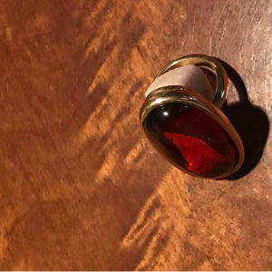 Red Baltic Amber Stone Ring